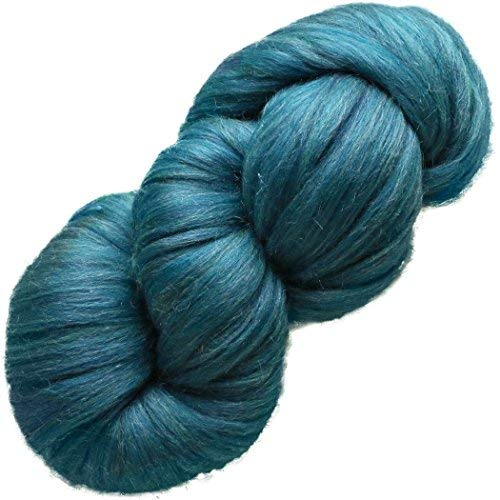 (Living Dreams Yarn ELEGANCE Super Bulky MERINO SILK for Needle Knitting and Crochet. Luxuriously Soft Pencil Roving Yarn for Cozy Chunky Knits. Sapphire)