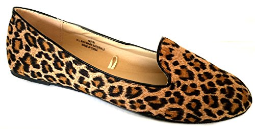 Shoes8teen Kvinna Faux Mocka Dagdrivare Rökning Skor Lägenheter 3 Färger Leopard 4024