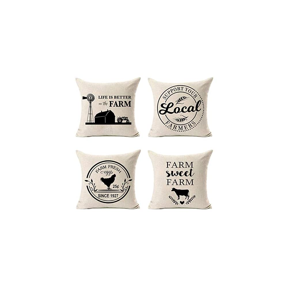 MFGNEH Farm Sweet Farm Farmhouse Pillow Covers Set of 4 with Life is Better On The Farm Quote 18 x 18 Inch Farmhouse…