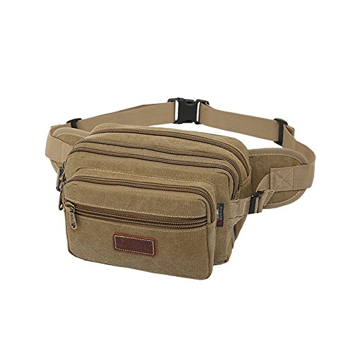 Fanny Pack/Waist Pack for Women and Men with 6 Zip Pockets,SUNSEATON High Capacity Waist Bag for Hiking Running Cycling Travel Holidays or Festivals-Khaki