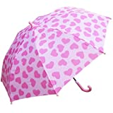 RainStoppers W104CHPIHRT Girl's Heart Print Umbrella, 34-Inch