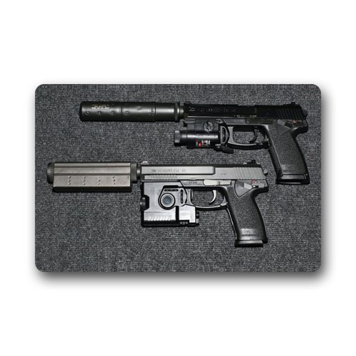 Non-Slip Entryways Cool Weapons Guns Handgun Picture Rectangle Indoor/Outdoor Rectangle Floor Mat Doormat - 23.6