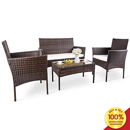 Romatlink, 4 Pieces Outdoor Rattan Patio Furniture Set, Modern Wicker Conversation Sofa Chairs with Cushioned Loveseat Armchairs & Glass Top Coffee Table, Perfect for Garden Lawn Poolside Backyard (Modern Outdoor Sets Furniture)