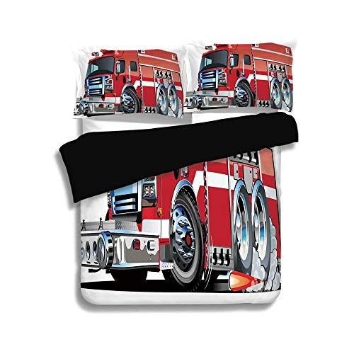 over Set Twin Size,Cars,Big Fire Truck with Emergency Equipments Universal Safety Rescue Team Engine Cartoon,Red Silver,Decorative 3 Pcs Bedding Set by 2 Pillow Shams ()