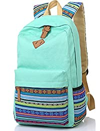 Leaper Causal Style Lightweight Canvas Cute Backpacks School Backpack Water Blue Flower Large