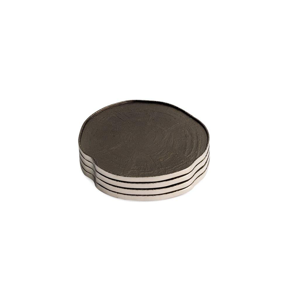 Michael Aram Driftwood (look) black nickelplate coasters - set of 4 (also used as candle stands)