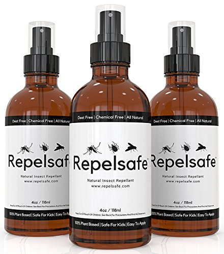 Natural Bug Spray Repellent by RepelSafe - Tick Repellent for Humans - Bug Repellent Spray for Ticks, Mesqueots, Fleas, Flies, Gnats, and Many Other Insects. Bug Spray for Kids - Travel Size (3, 4oz)