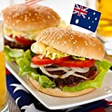 Pack of 100 Australian Flag Toothpicks for Plate and Food Decoration - For Sandwiches, Burgers, Desserts, and More