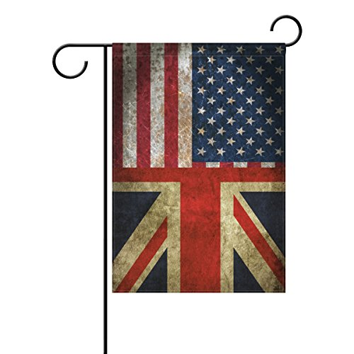 Combination Jack - ALAZA Double Sided Vintage American Union Jack Friendship Combination A Memorial Day Polyester Garden Flag Banner 12 x 18 Inch for Outdoor Home Garden Flower Pot Decor