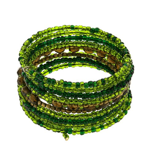 Wrap Around Green Bead String Costume Bracelet Fashion Jewelry Indian
