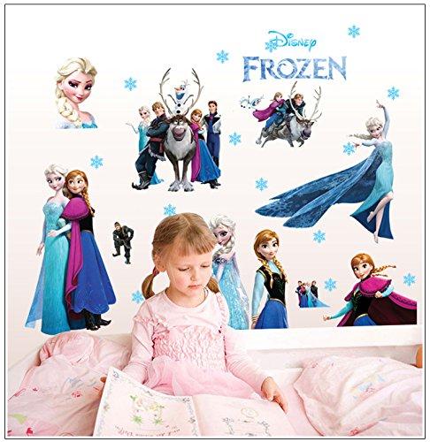 Chambre Bebe Autocollants Frozen Stickers Muraux Chambre Enfant Fille Princesse Kibi Frozen Disney Stickers Muraux Reine des Neiges Salon Amovible Stickers Mural Elsa