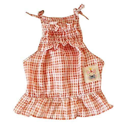 Sayhi Sexy Fashion Pet Dog Sling Skirt Summer Fluffy Leisure Pet Plaid Dress Dog Apparel for Small Dogs Girl(Red,M)