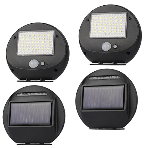 Sensor Solar Lights Outdoor, 30 LED Super Powered Security Light with Motion Sensor, 120 Degree Wide Angle Sensor, Garden Wall Lights for Fence, Patio, Deck, Yard, Driveway, Walkway Lighting, 4 Pack