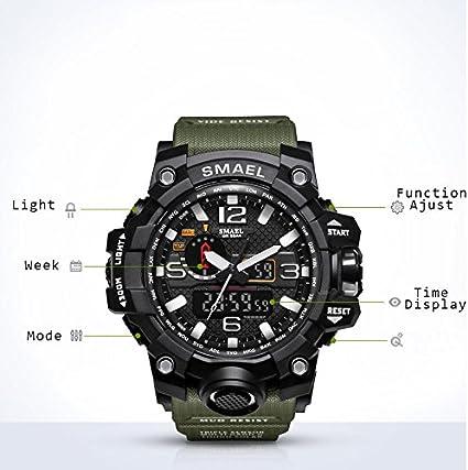 Relojes Hombre Reloj de Pulsera Hombre Reloj Deportivo Militar Reloj Smart Moda Reloj de Pulsera Reloj Pulsera Digital LED-Black-WCH1545-BK: Amazon.es: ...