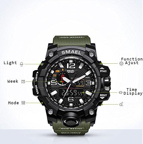 Reloj Digital Deportivo a Prueba de Agua para Hombre Relojes Militar JSDTECH para Hombre niño (Ejército Verde): Amazon.es: Relojes