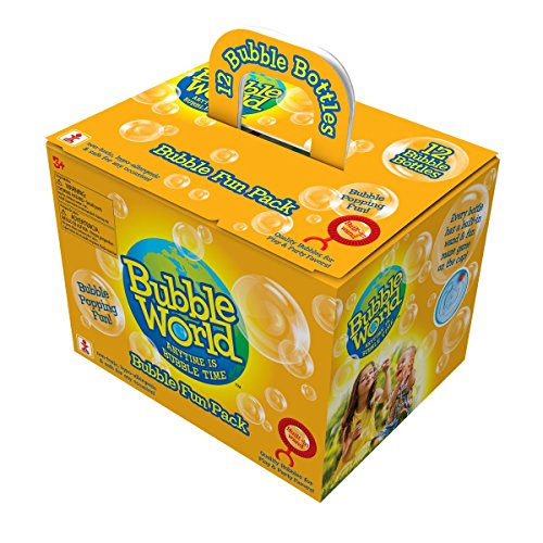 Bubble World Fun Bubble Bottles (12 Pack) Bubbles for Kids - Non-Toxic Bubbles with Built-In Wand for Mess-Free Play!