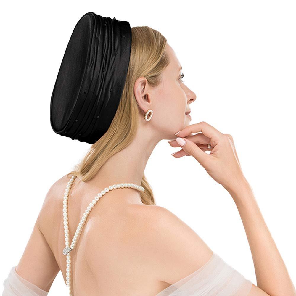 F FADEVS Pearl Satin Sinamay Pillbox Hats Church Wedding Formal Dress Fascinator Black