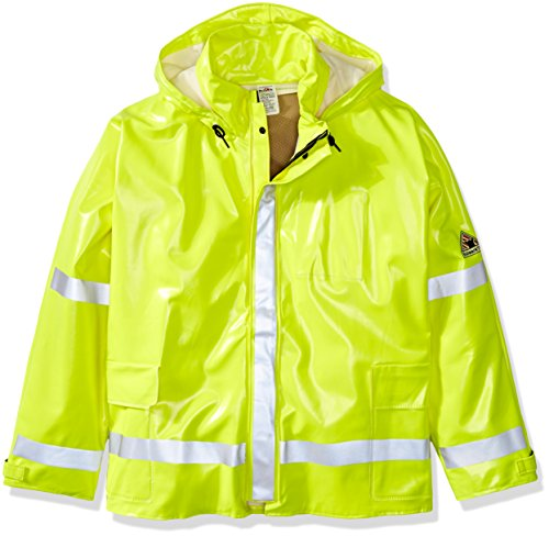 Bulwark Men's Big and Tall Hi-Visibility Flame-Resistant Rain Jacket, Yellow/Green, 5X-Large
