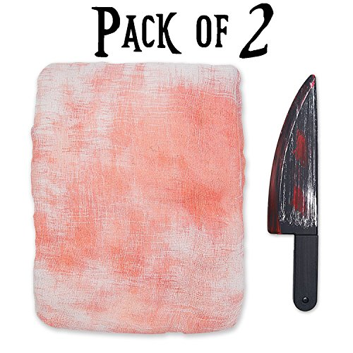 Pawliss Set of 2 Halloween Scary Chef's Knife & Blood White Gauze Tablecloth Decorations Zombie Party Supplies