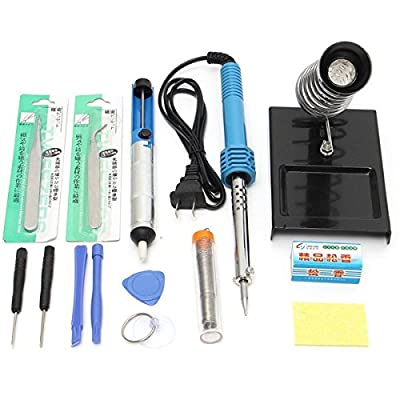 14 in 1 60W 110V Electric Soldering Tools Kit Set Iron Stand Desoldering Pump Suction Tin