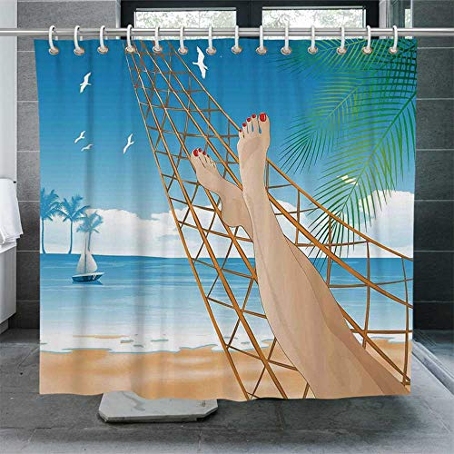 ALUONI Tropical Waterproof Shower Curtain,Legs of The Sexy Lady Laying in The Hammock Toward The Ocean in Hawaiian Tropical Decorative Bathroom Curtain with Hooks,72