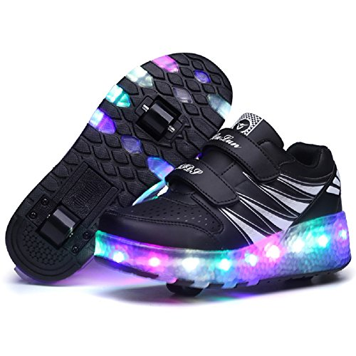 Ragazze Ragazzi Con Multisport Sneaker Scarpe uk Formatori 1 Outdoor Lampeggiante Per E Automatiche Unisex Nero Led Skate Bambino Skybird Rotelle Ginnastica Running Sportive 6wRUqXq