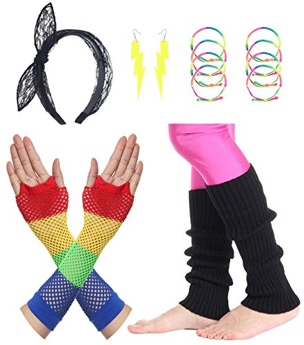 JustinCostume Women's 80s Outfit Accessories Neon Earrings Leg Warmers Gloves -