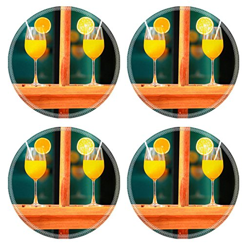 Luxlady Natural Rubber Round Coasters IMAGE ID 32691334 Orange juice in summer day for healthty