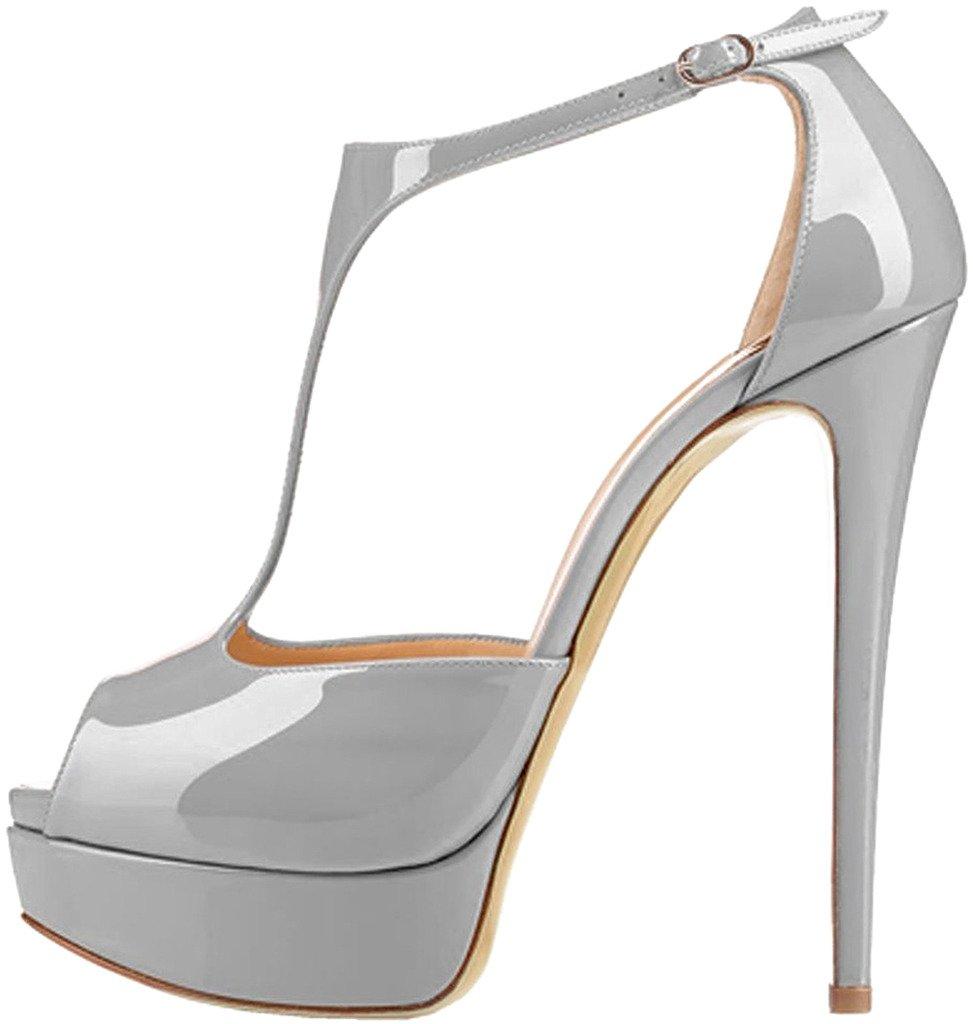 Calaier Mujer Camoney Tacón De Aguja 15CM Sintético Hebilla Sandalias de vestir Zapatos 36 EU|Gris