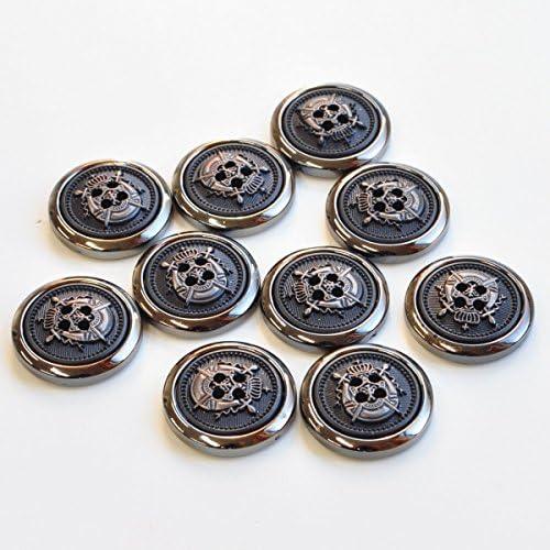 エンブレム プラスチックボタン 直径約20mm 10個セット 手芸