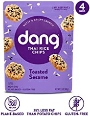 Dang Sticky Rice Chips | Toasted Sesame | 4 Pack | Vegan, Gluten Free, Non GMO Rice Crisps, Healthy Snacks Made with Whole F