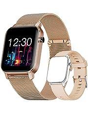 Smartwatch, Fitness Tracker Horloge met Vrij te Kiezen Achtergrondafbeelding, Waterdicht Smartwatch met Hartslagmeter, Stopwatch, Stappenteller, Slaapmonitor voor Dames en Heren