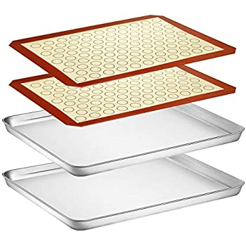 Baking Sheet with Silicone Mat Set, Yododo Set of 4 (2 Sheets + 2 Mats), Stainless Steel Cookie Sheet Baking Pan with Silicone Baking Mat, Size 16 x 12 x 1 inch, Non Toxic & Heavy Duty & Easy Clean