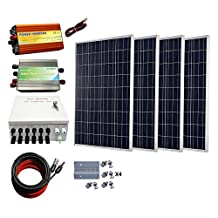 ECO-WORTHY 400 Watts Solar Panel Kit: 4pcs 100W Poly Solar Panel + 1000W 12V-110V Pure Sine Wave Inverter + Combiner Box + Solar Cable + 30A PWM Charge Controller + Z Mounting Brackets