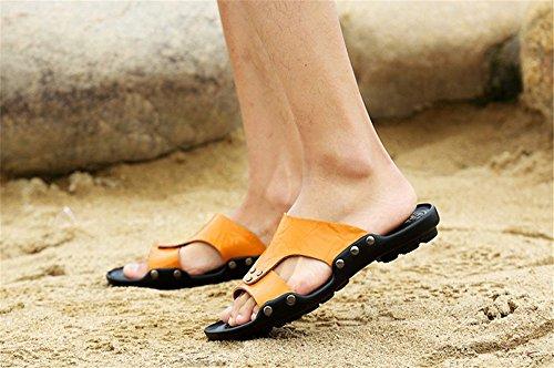 in Pantaloncini indossabili Spiaggia Pelle in Uomo da da Sandali Primavera 2018 Pantofole TMKOO Arancia Pelle Antiscivolo 4paXW