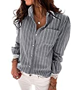 Ecrocoo Women's Casual Long Sleeve V Neck Blouses Stripe Print Summer Button Shirts Loose Tunic T...