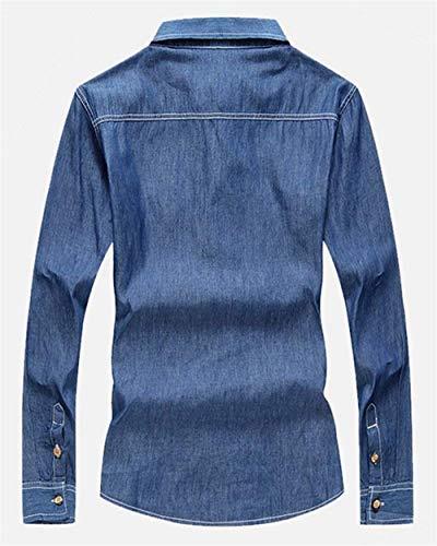 Risvolto Lunga Uomo Jeans Stile Giacche 1 Cappotto A Retro Da Darkblue Denim Jeans Manica Bottoni In Con Lanceyy Di Giacca Capispalla Semplice wI6FIO