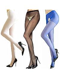 LifeVV Womens 3 Pairs Sheer Stocking Crotchless Pantyhose Sexy Pantyhose