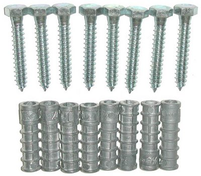 Mounting Anchor - Lag Bolts & Shields For Saris Wave Bike (Anchor Lag Shields)