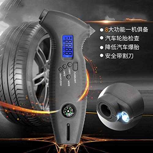 Multi-functional digital tire pressure gauge with safety hammer backlight cutter octagonal barometer car tread