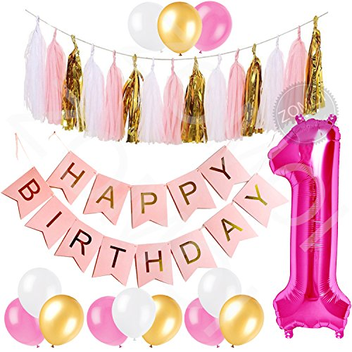 1st Birthday Party Decorations Kit for Baby Girl - Pink, Gold & White Décor Set with Pink Number One Balloon, Pink Happy Birthday Banner, Tassels and Latex Balloons Party Supplies.