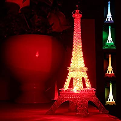 Eiffel Tower Nightlight Desk Bedroom Decoration LED Lamp Colorful Paris Fashion Style Acrylic 10 Inch Cake Topper Decoration Gift by AnnerPretty