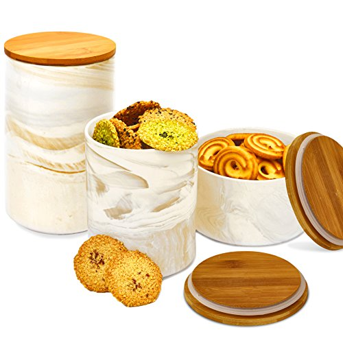 3pc Porcelain Kitchen Canister Set with Bamboo Lids - Desert Brown Marble Containers with Airtight Seal - Sugar, Coffee, Flour or Food Storage Jar - by Marbelous