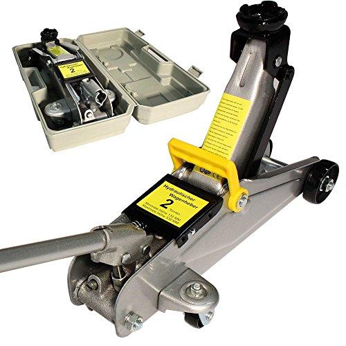 Arebos® Hydraulischer Wagenheber Rangierwagenheber 2 Tonnen mit extralanger Hubstange und Koffer