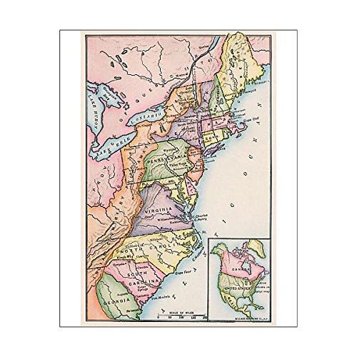 Media Storehouse 20x16 Print of Thirteen original colonies in 1776 - Map 1776