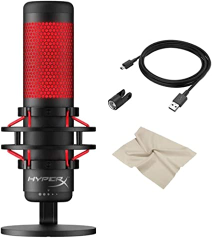 With KWALICABLE Bundle | Red Anti-Vibration Shock Mount PC and Mac Pop Filter For PS4 QuadCast USB Multi-Pattern Electret Condenser Microphone 2020 Edition Newest HyperX Black