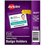 "Avery Heavy-Duty Clear Badge Holders, Fits Inserts up to 3"" x 4"", Landscape, 25 Holders (74471)"