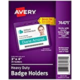 Avery Heavy-Duty Clear Badge Holders, Fits Inserts up to 3'' x 4'', Landscape, 25 Holders (74471)