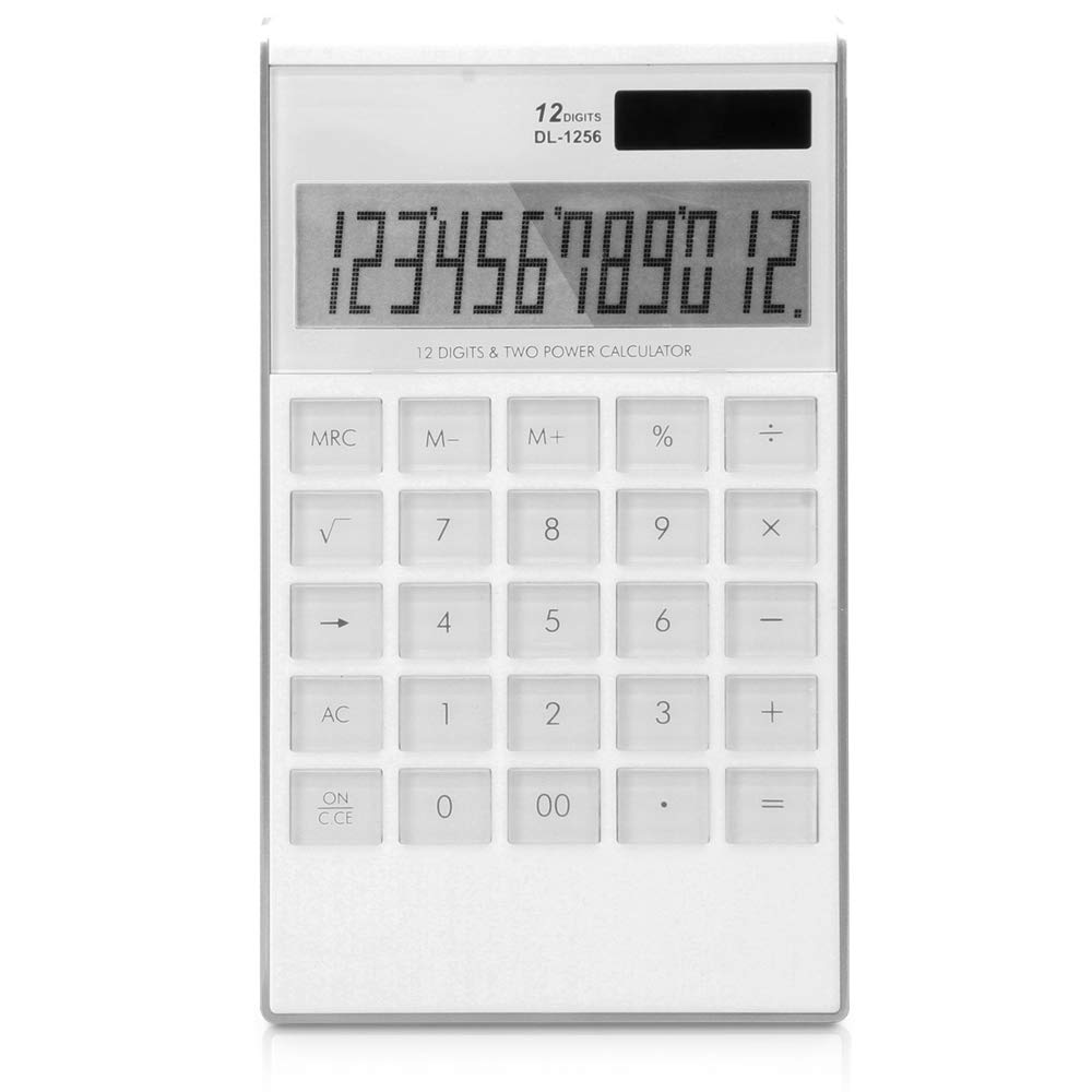 DERTHWER Scientific Calculator Blue and White Financial Calculator 12-bit Multi-Function Desktop Office/Learning Tools Ideal Tool for Calculation (Color : White) by DERTHWER
