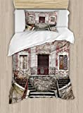 Ambesonne Tuscan Duvet Cover Set Twin Size, Rustic Window Old Wooden Shutter Flower Pot on Medieval Stone Wall, Decorative 2 Piece Bedding Set with 1 Pillow Sham, Burgundy Ivory and Grey
